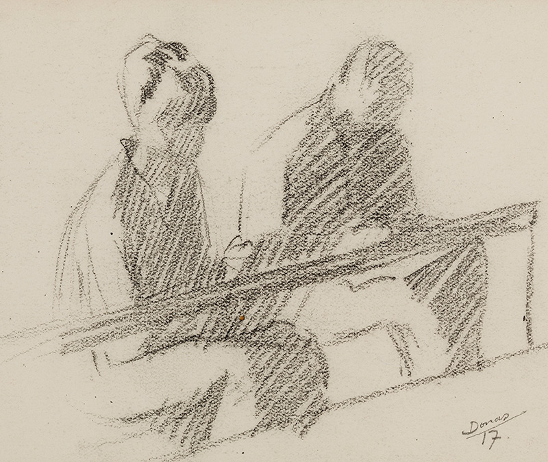 Marthe Donas, Two Figures Drawing, 1917